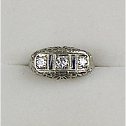 Vintage Art Deco 14K Gold 3 Diamond .45ctw Sapphire Ring  Quality  Horizontal  Filigree