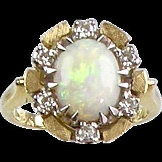 Vintage 14K Gold Diamond Opal Ring  Lots of Sparkle   Unusual Design