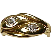 Antique Victorian 18K Gold Diamond .50 ctw Double Serpent Snake Ring  Beautiful  Unisex  RARE