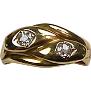 Antique Victorian 18K Gold Diamond .50ctw Double Serpent Snake Ring  Beautiful  Unisex