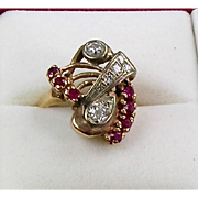 Vintage Retro 14K Rose Gold Diamond Ruby Ring Large  Sparkle  Unique Design