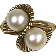 Vintage Retro 14K Gold Double Cultured Pearl Pearls Ring  Unique Setting