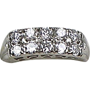 Art Deco 10 Diamond 1.00 ctw 14K White Gold Band Ring  Important Look  Full of Sparkle