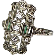 Vintage Art Deco 18K White Gold Diamond Emerald Dinner Ring  Lovely Design  Stunning