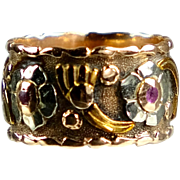 Retro 14K 2-Color Gold & Rubies Eternity Band Ring   Wide  Unusual    STUNNING