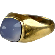 Retro 18K Rose Gold Chalcedony Ring  High Cabochon Violet