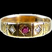 Antique English Victorian 15K Gold Diamond & Ruby Band Ring