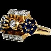Retro 14K Rose Gold Diamond Sapphire Ring    Unique Design  Custom   Stunning