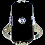 Art Deco 14K White Gold Black Onyx Diamond Ring