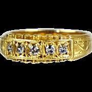 Victorian 18K Gold 5 Diamond Band Ring