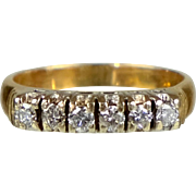 Vintage Art Deco 14K Rose Gold 6-Diamond Band Ring