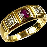 Antique English Victorian 18K Gold Diamond & Ruby Band Ring  English Registration Mark