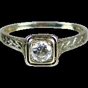 Art Deco 1930s 18K White Gold Diamond .40ct Engagement Ring