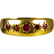 Antique English Victorian 18K Gold 5 Ruby Band Ring