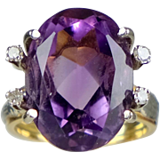 Retro c.1940s 14K Gold Amethyst Diamond Ring
