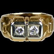 Retro c1940 14K Rose Gold 2-Diamond Ring Unisex