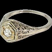 Art Deco 18K White Gold Filigree Diamond .40ct Engagement Ring  Delicate & Lovely