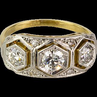 Art Deco Platinum 3 Diamond 1.00ctw Ring Gorgeous Design  Top Quality