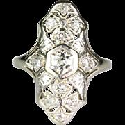 Vintage Art Deco 14K White Gold Diamond 1.00ctw Dinner Ring  Beautifully Made