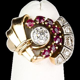 Chunky Vintage 1940s Retro 14K Rose Gold Ring Diamonds .70 ctw & Rubies   STUNNING DESIGN