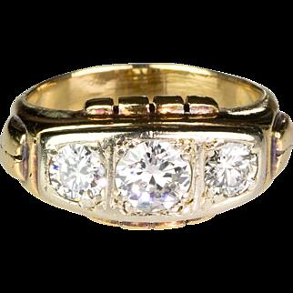 Chunky Retro 18K Rose Gold Ring  3 Large Diamonds 1.60ctw  Unisex  STUNNING DESIGN