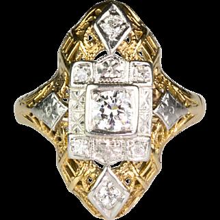 Art Deco Yellow & White14K Gold Diamond Dinner Ring Very Unique Lovely Design RARE
