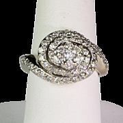 Lovely Vintage 14K White Gold Diamond Swirl Ring  Bold & Sparkly
