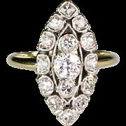 Art Deco 1920s 14K Gold Diamond Navette Dinner Ring 1.00ctw  Full of Sparkle
