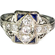 Vintage Art Deco 18K Gold Diamond .60 ctw Trillion Sapphire Ring Stunning Design - Red Tag Sale Item