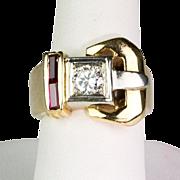 Chunky Retro 14K Gold Ruby Diamond .50 ct  Buckle Ring Unisex   STUNNING