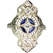 Vintage Art Deco 18K White Gold Diamond .55ctw Sapphire Dinner Ring  Filigree Design  Stunning