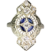 Vintage Art Deco 18K White Gold Diamond Sapphire Dinner Ring   Filigree Design   Stunning