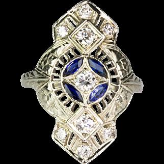 Vintage Art Deco 18K White Gold Diamond Sapphire Dinner Ring   Filigree Design   Stunning