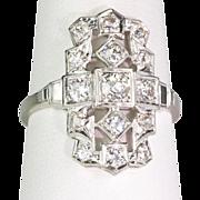 Art Deco 18K White Gold Diamond Dinner Ring Sparkly 1.0 ctw Beautiful Design