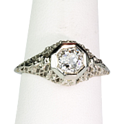 Gorgeous Art Deco 18K White Gold Filigree Diamond Engagement Ring  Sparkly .75ct Old Mine Stone