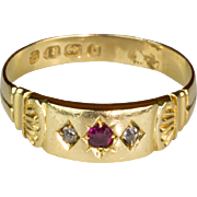 Lovely Antique Victorian 18K Gold Rose Diamond & Ruby Ring  English Hallmarks  Delicate