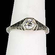 Art Deco Diamond .50ct 14K White Gold Filigree Engagement Ring  Beautiful Raised 6-Sided Design