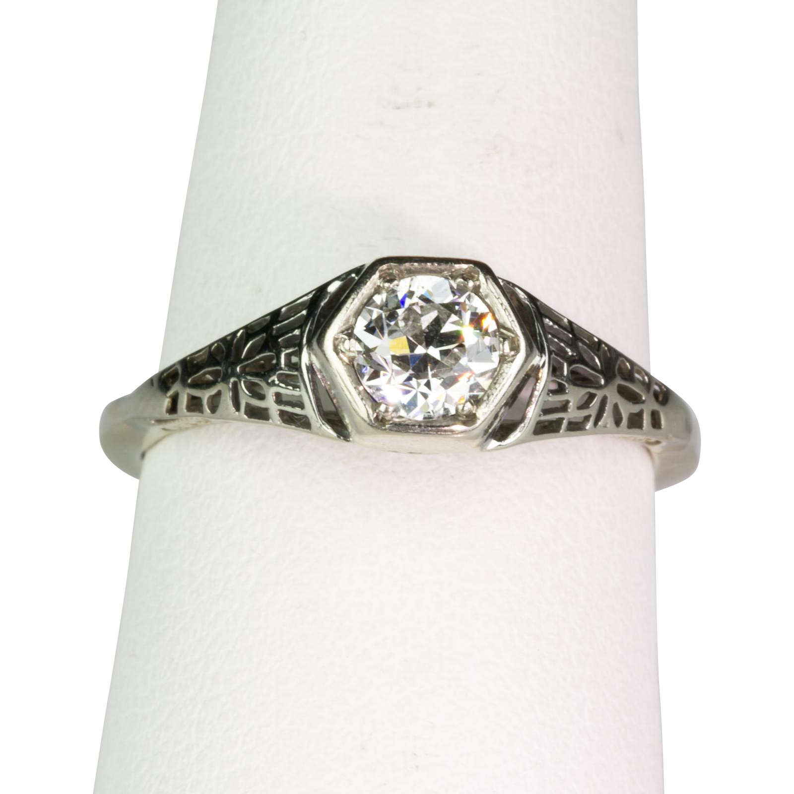 Art Deco Diamond 50ct 14K White Gold Filigree Engagement Ring from ccfinds o