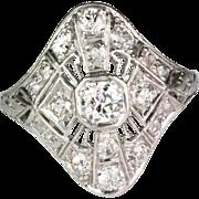 Vintage Art Deco Platinum Diamond 1.20 ctw Ring  Beautiful Filigree Design