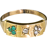 Lovely English Victorian 15K Gold Rose Diamond Pearl & Turquoise Ring  Hallmarks  Delicate