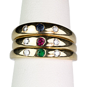 3 Vintage Gypsy Rings Diamond Ruby Sapphire Emerald  14K Gold   Wear Individually or All Together   Great Look!