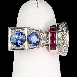 Chunky Retro 18K Gold Ring Diamonds Rubies Sapphires  Very Unique Design  STUNNING