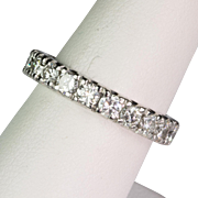 Vintage Platinum Diamonds Eternity Band Ring  2.00 ctw  Full of Sparkle  Gorgeous