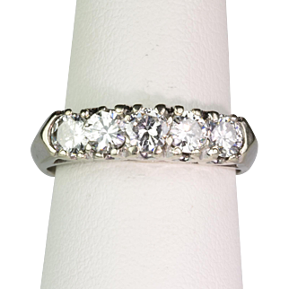 Vintage Art Deco 14K Gold Band Ring with 5 Large Diamonds  1.00ctw  Sparkle Galore