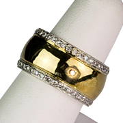 Vintage 18K Gold & Platinum Diamond 1.20ctw Eternity Band Ring  Wide  Sparkle Galore