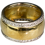 Wide Vintage 18K Gold & Platinum Diamond 1.20ctw Eternity Band Ring  2 Diamond Bands Surround Gold Band   Sparkle Galore