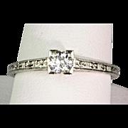 1930s Art Deco Diamond .30 ct Engagement Ring  18K White Gold  Delicate & Lovely