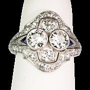 Art Deco Platinum Diamond 2.50 ctw  & Sapphire Ring  Gorgeous  Important