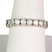 Deco Style 18K White Gold Diamond .80 ctw Band Ring  Very Sparkly & Lovely