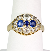 Antique 19th C 18K Gold Diamond & Sapphire Ring  Old Mine & Rose Cuts  RARE